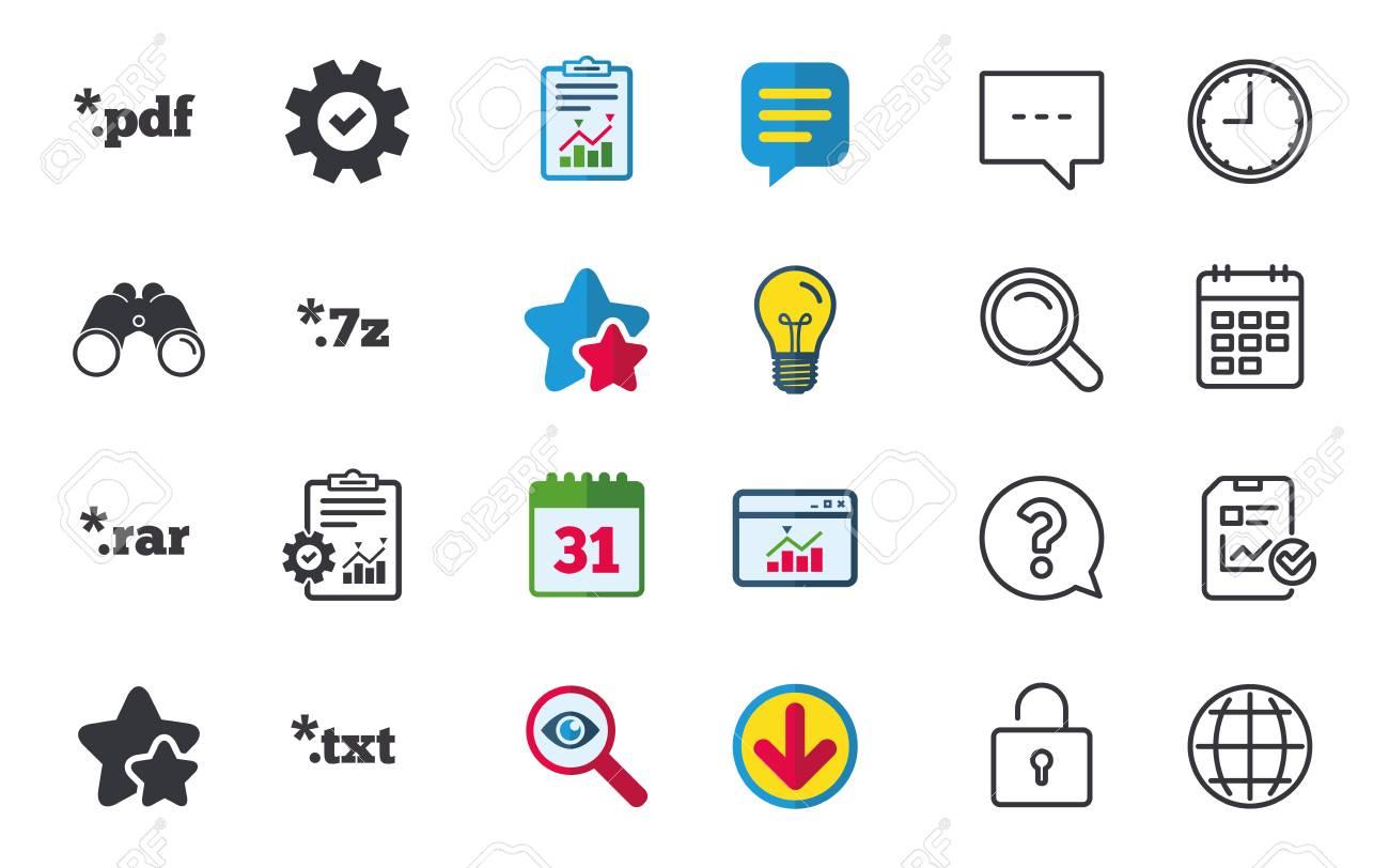 Document icons  File extensions symbols  PDF, RAR, 7z and TXT