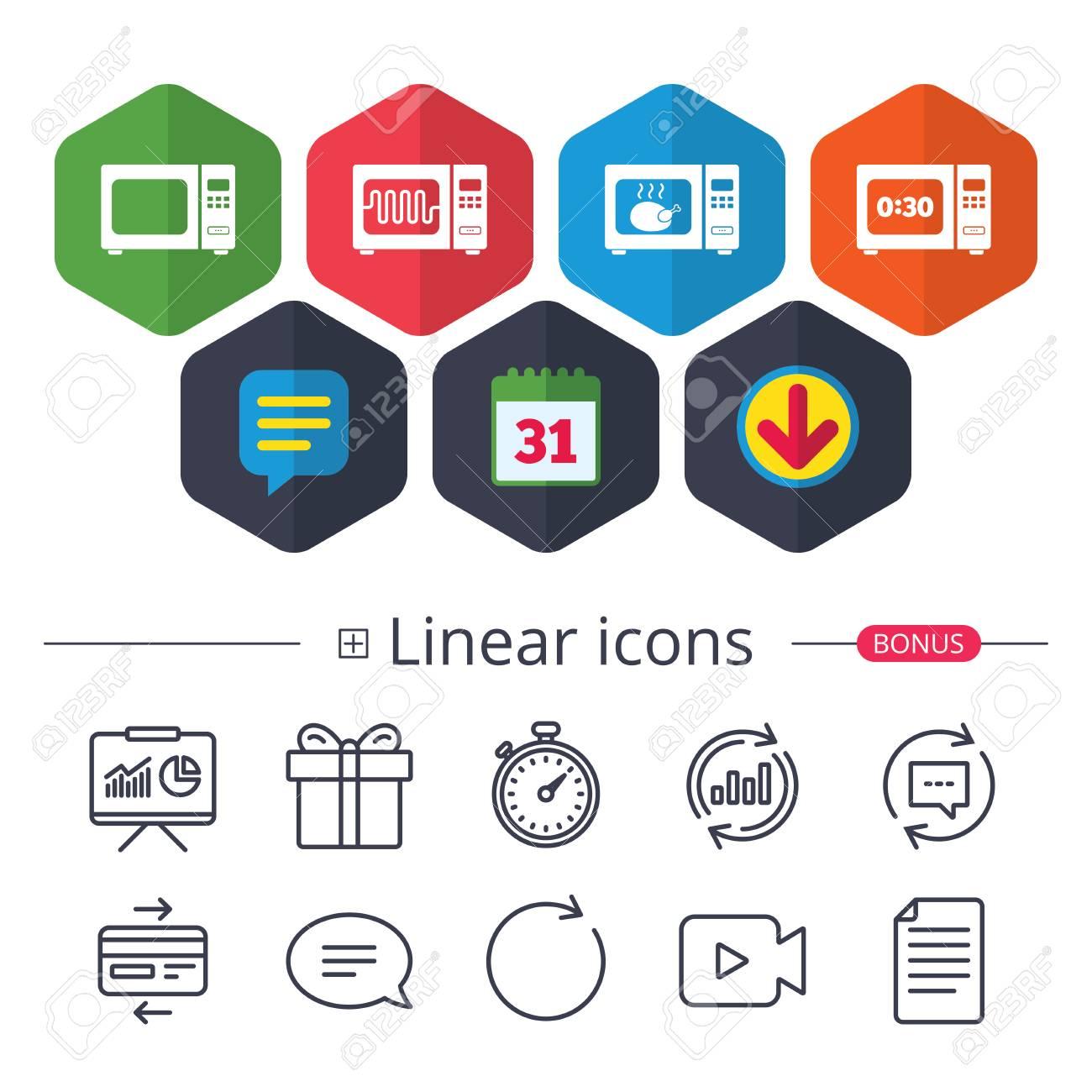 Kalender, Sprechblase Und Download-Zeichen. Mikrowelle Symbole. Cook ...
