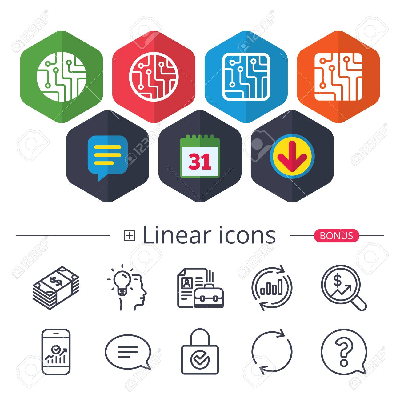 Calendar, Speech Bubble And Download Signs. Circuit Board Icons ...