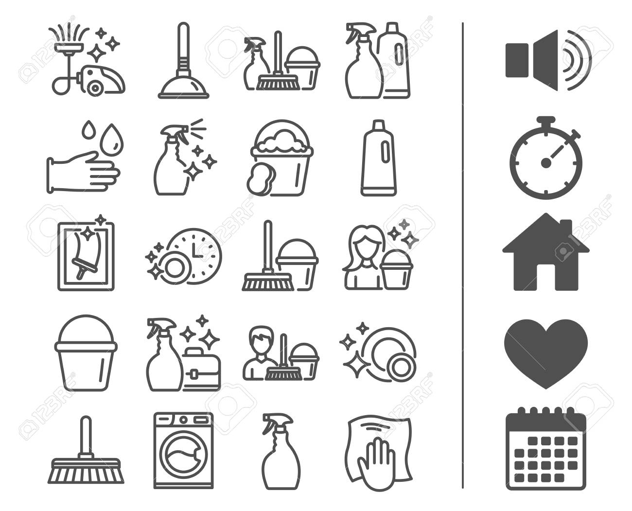 Cleaning line icons. Laundry, Sponge and Vacuum cleaner signs. Washing machine, Housekeeping service and Maid equipment symbols. Window cleaning and Wipe off. Bonus classic signs. Editable stroke - 88533803