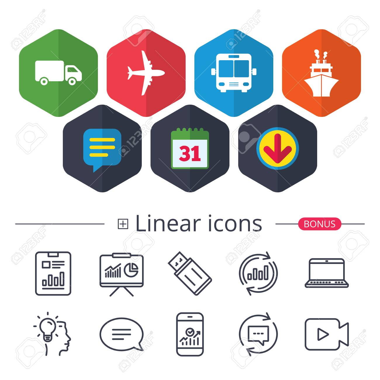 Calendar, Speech bubble and Download signs  Transport icons