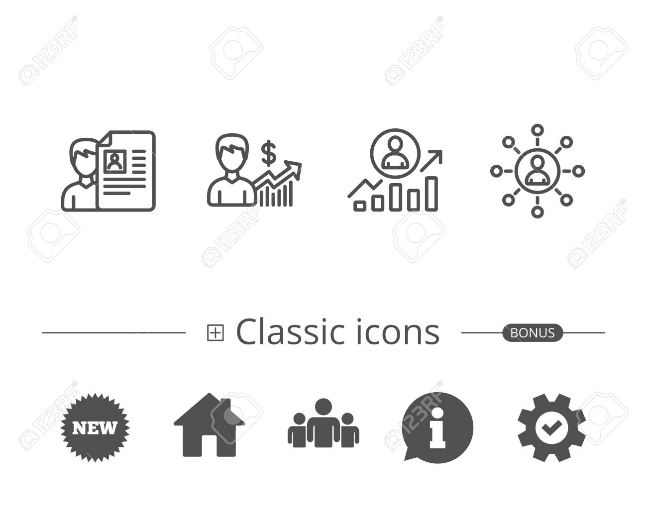 cv business networking and get a job line icons work results and growth chart