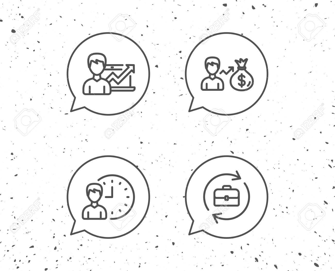 Bulles Avec Des Signes Icones De La Ligne De Resultats D Affaires De Dossiers Et D Affaires Tableau Des Gains Et De La Croissance Fond Grunge Trait Editable Vecteur Clip Art Libres De Droits
