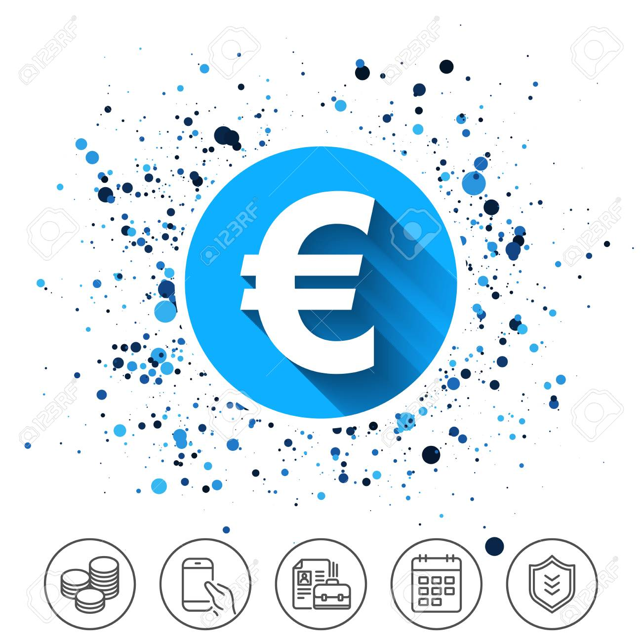 Button On Circles Background Euro Sign Icon Eur Currency Symbol