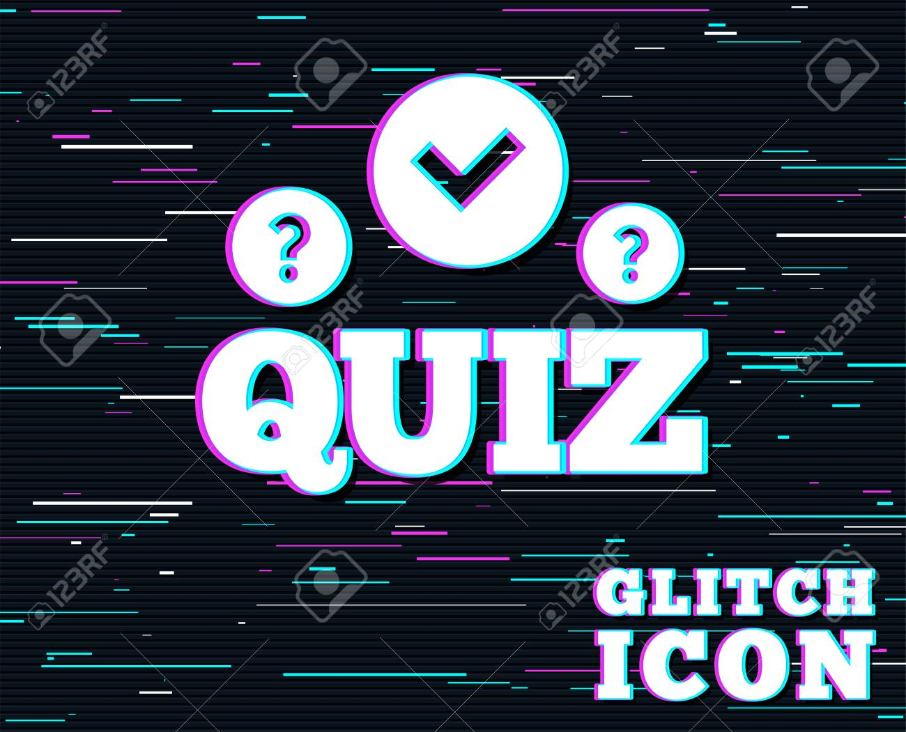 Glitch effect  Quiz with check and question marks sign icon