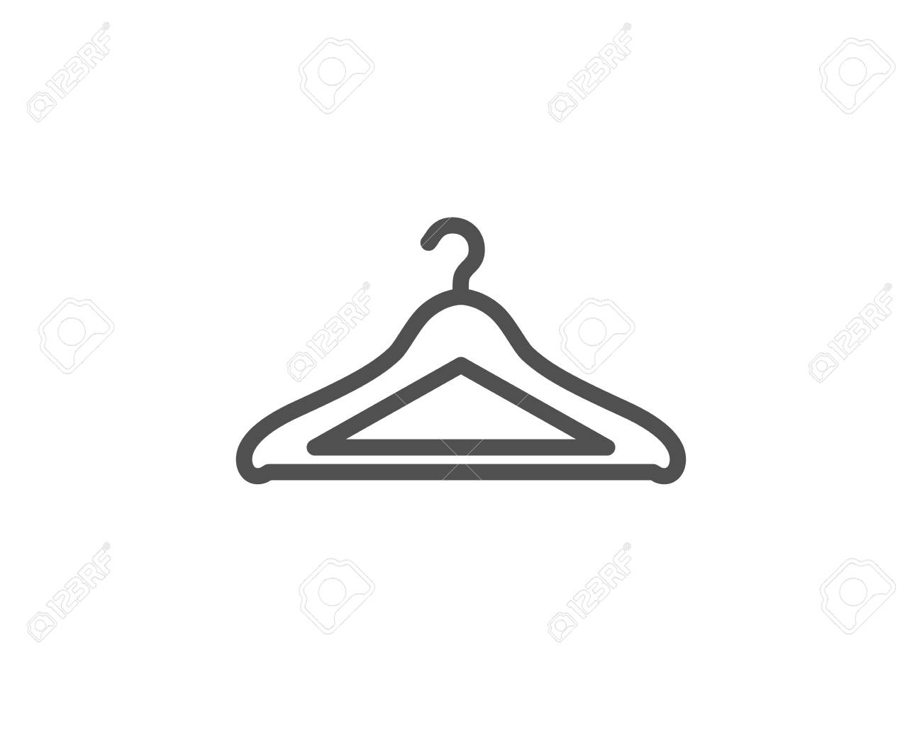 Cloakroom Line Icon Hanger Wardrobe Sign Clothes Service Symbol