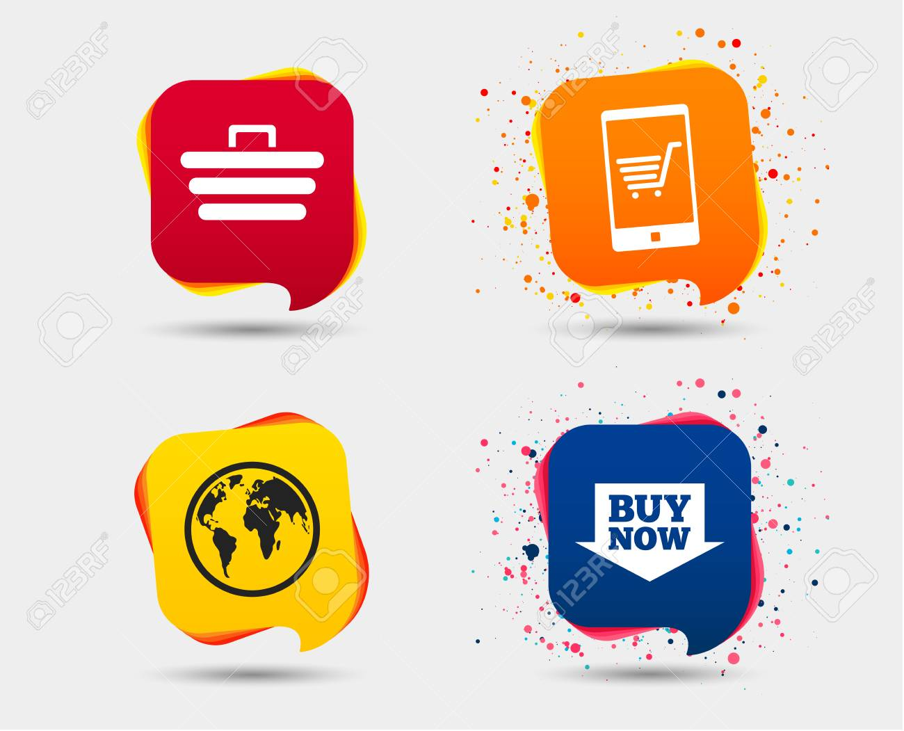 Online Shopping Icons Smartphone Shopping Cart Buy Now Arrow And
