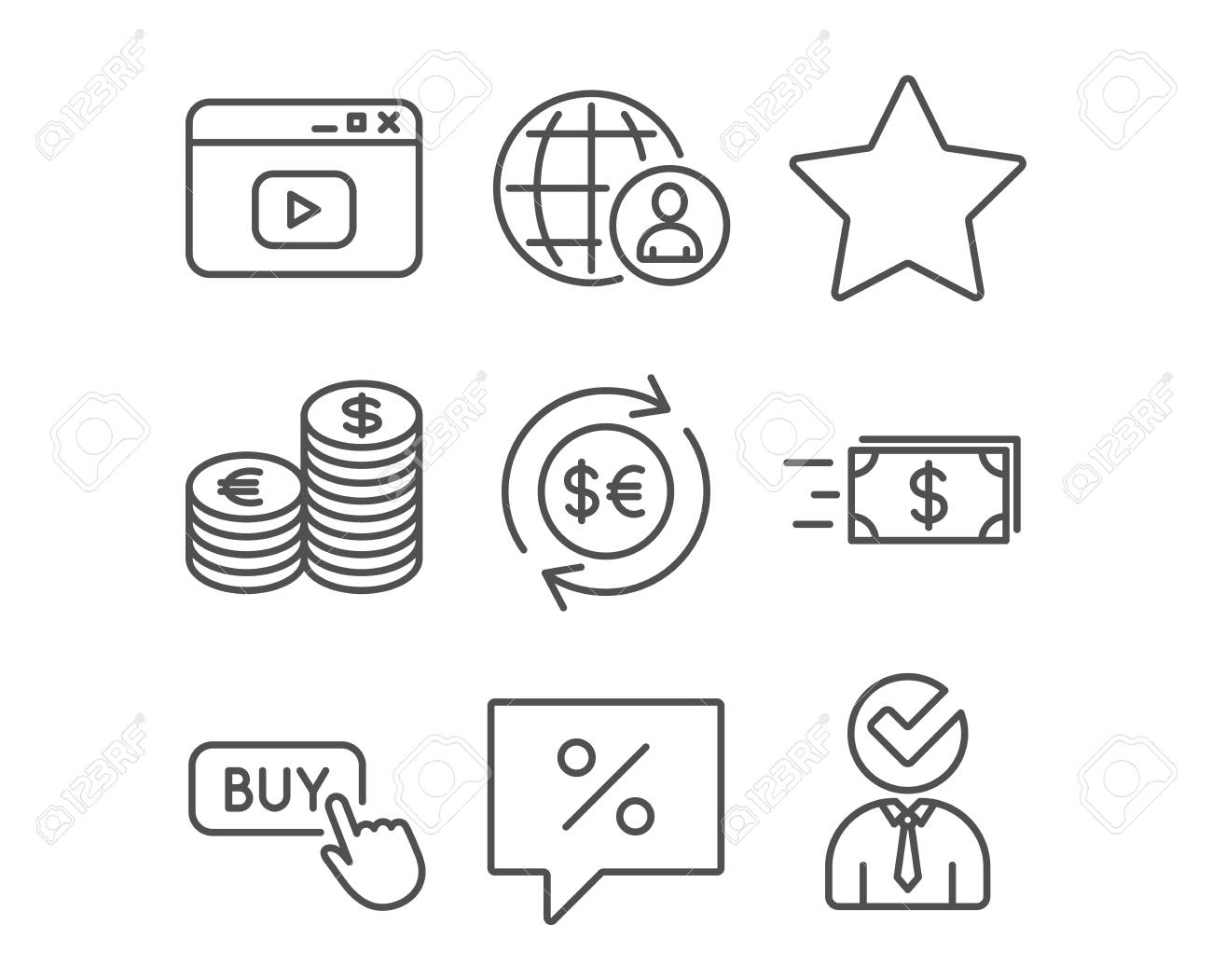 Set Of Buy Button Currency And Discount Message Icons Money