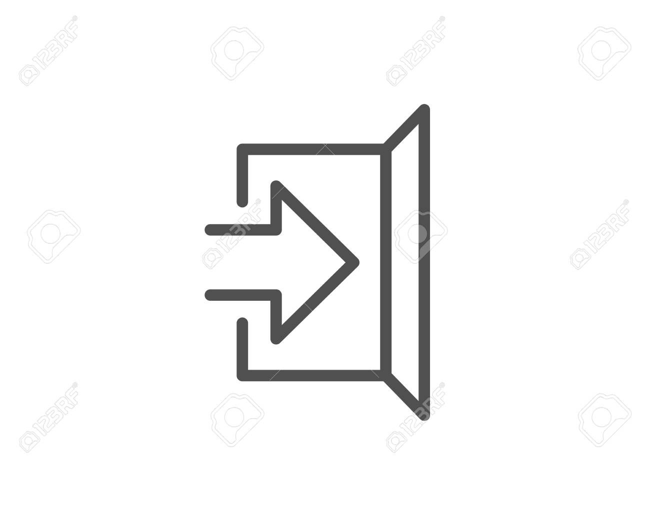 Exit line icon. Open door sign. Entrance symbol with arrow. Quality design element. Editable stroke Vector - 93832659