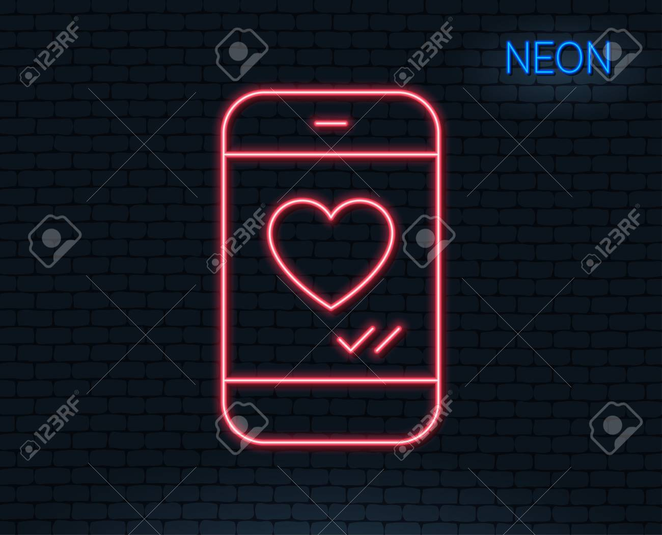 Neon Light Phone With Heart Line Icon Social Media Like Sign