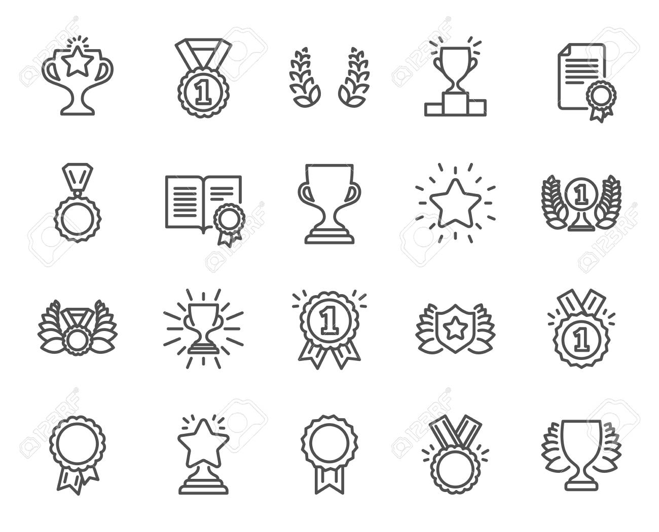 Awards line icons. Set of Winner medal, Victory cup and Laurel wreath signs. Reward, Certificate and Diploma message symbols. Glory shield, Prize and Rank star. Quality design elements. - 93836927