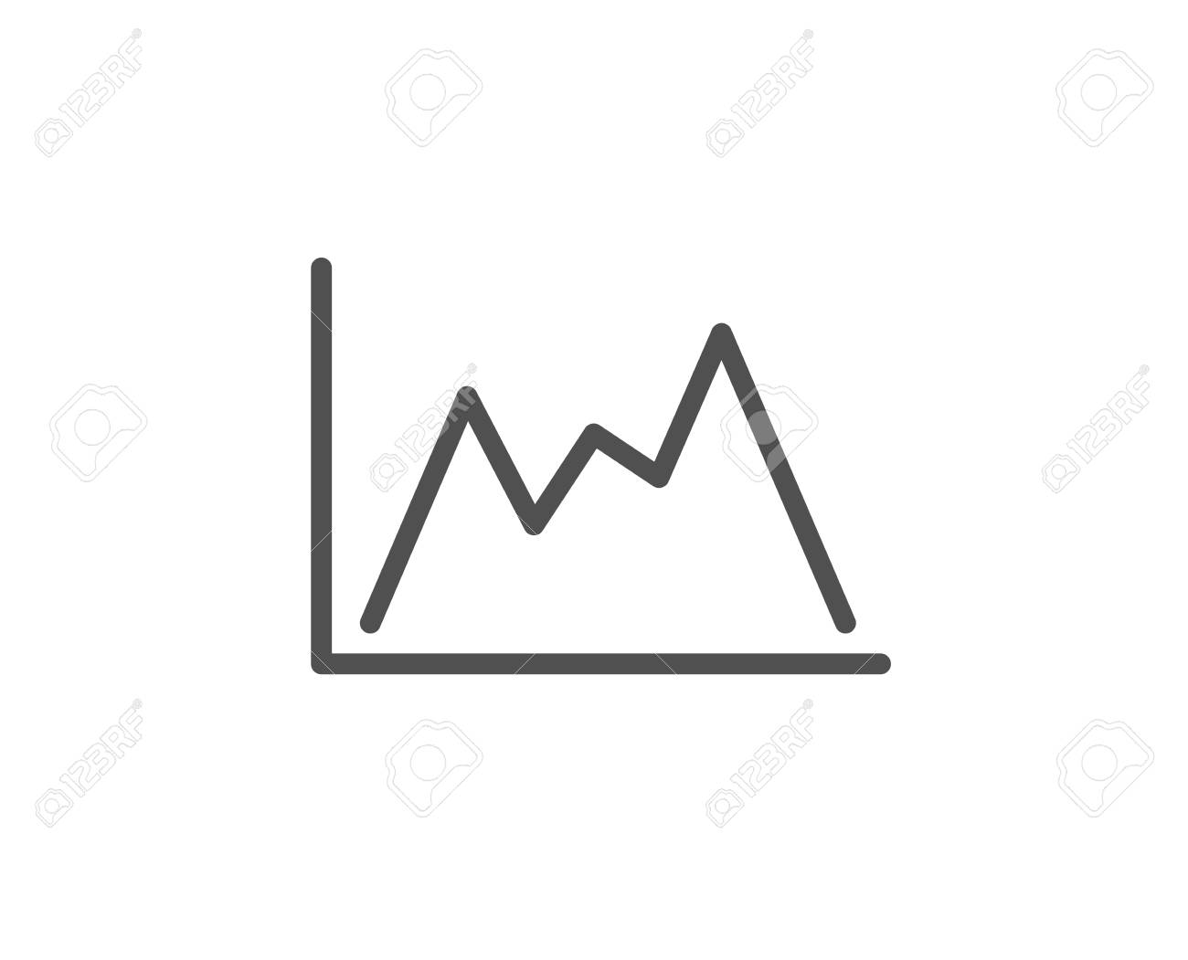 Line Chart Icon Financial Growth Graph Sign Stock Exchange
