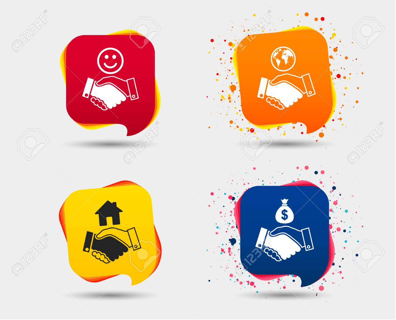 Handshake Icons World Smile Happy Face And House Building Symbol