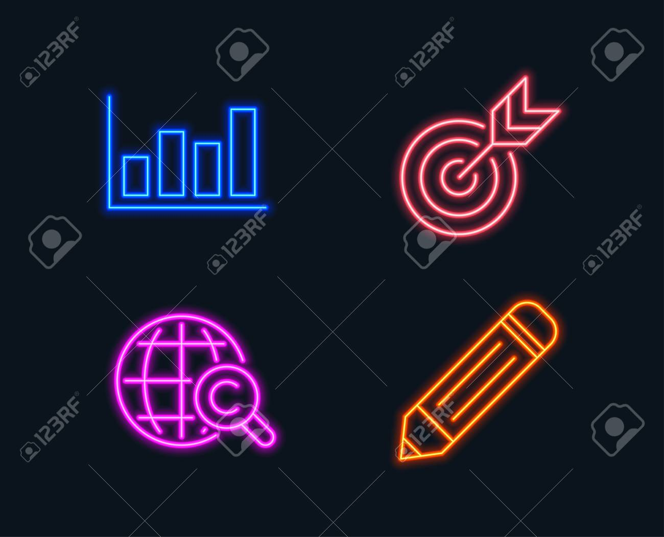 neon lights  set of target, report diagram and international copyright  icons  pencil sign