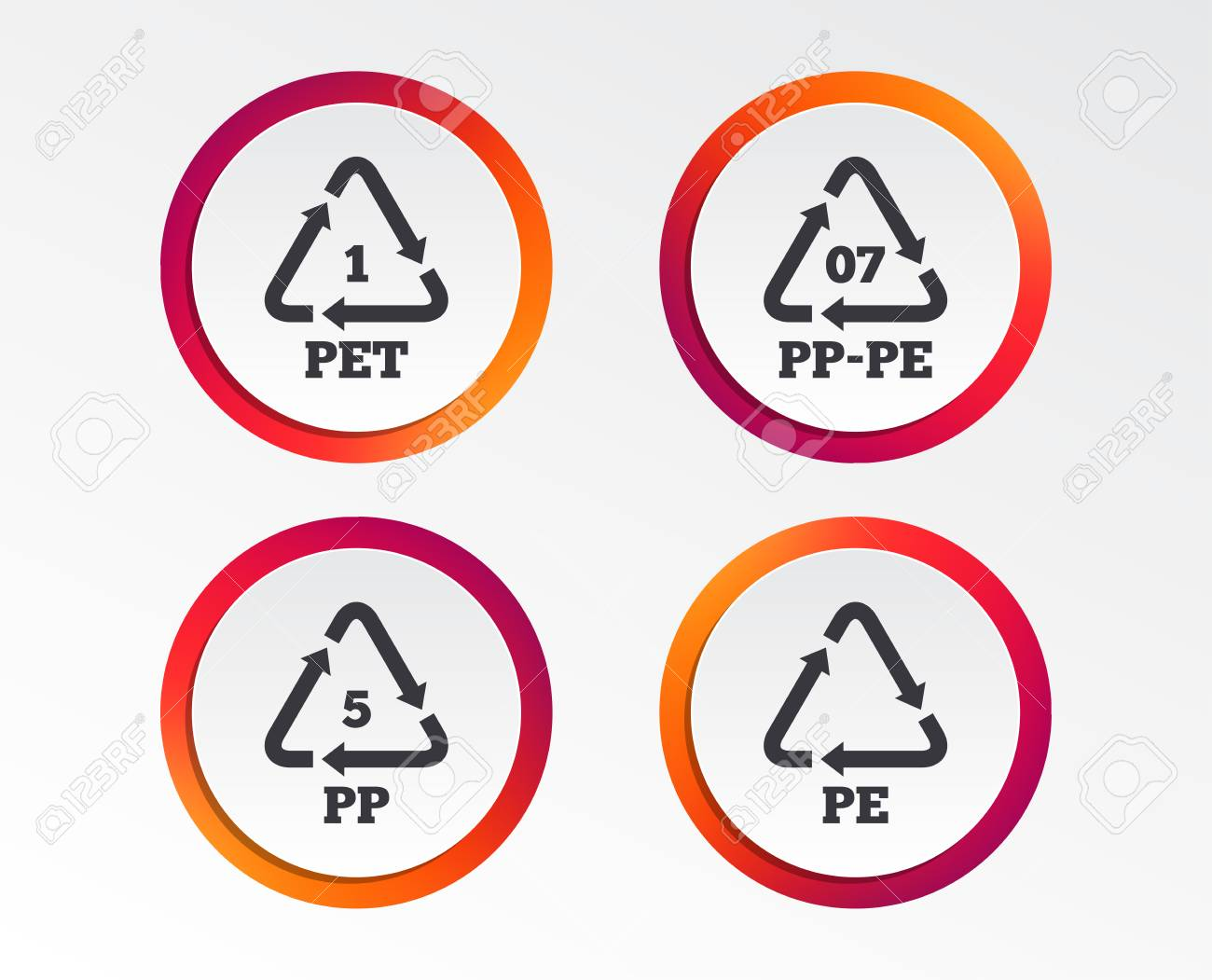 PET 1, PP-pe 07, PP 5 and PE icons  High-density Polyethylene