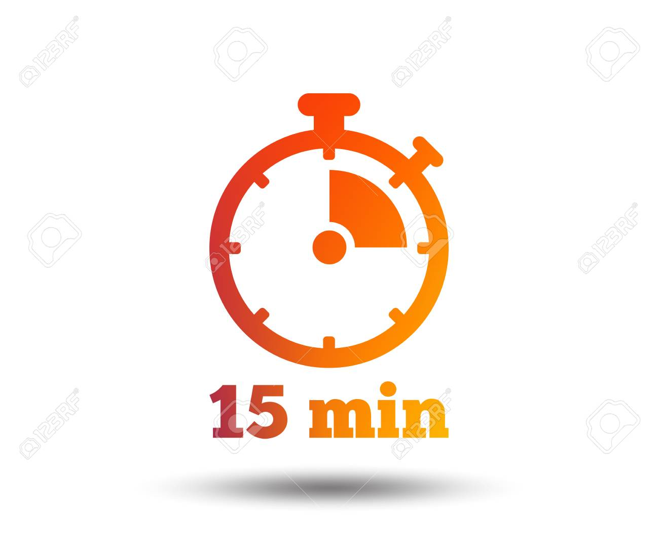 Timer sign icon  15 minutes stopwatch symbol  Blurred gradient