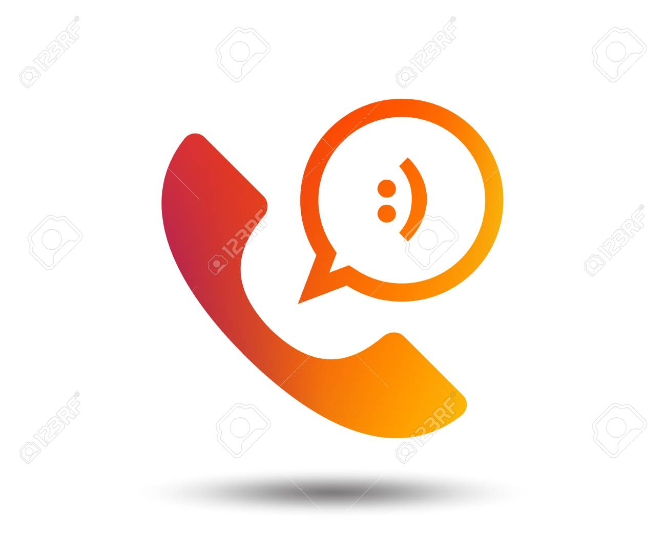Phone sign icon. Support symbol. Call center. Speech bubble with smile. Blurred gradient design element. Vivid graphic flat icon. - 97193818