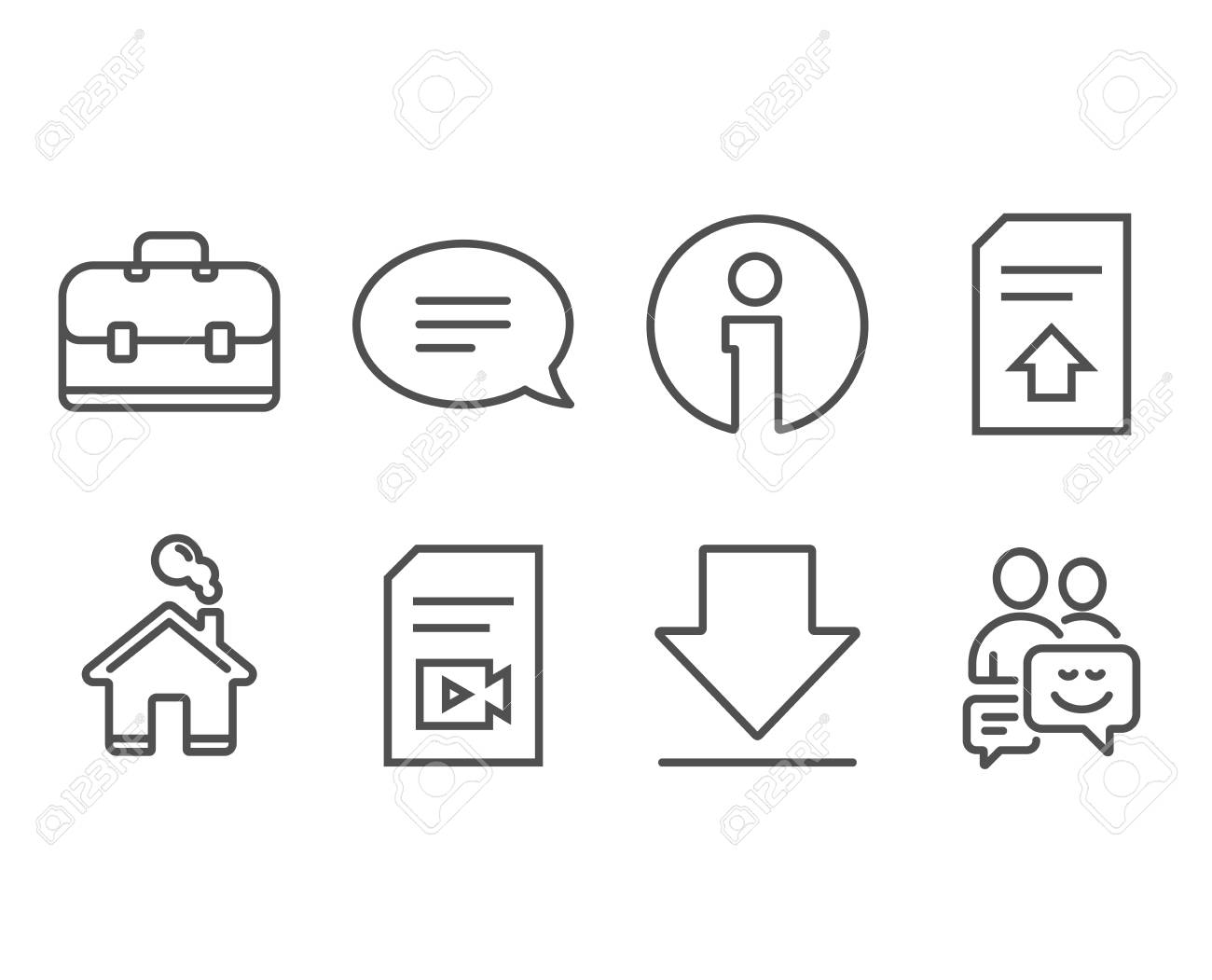 Set of Upload file, Chat and Video file icons  Portfolio, Downloading