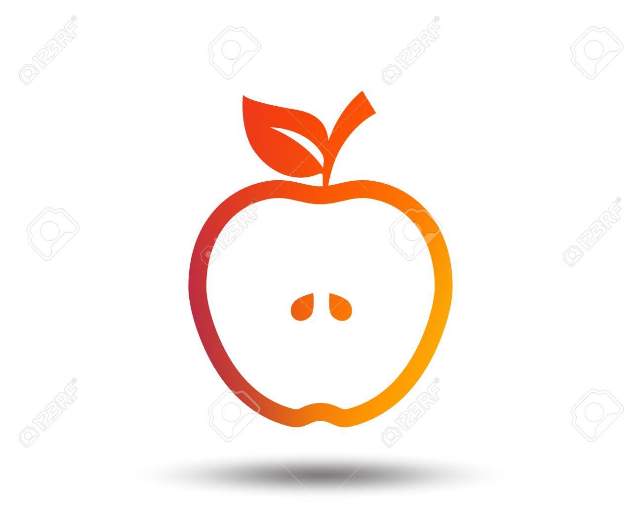 apple sign icon. fruit with leaf symbol. blurred gradient design