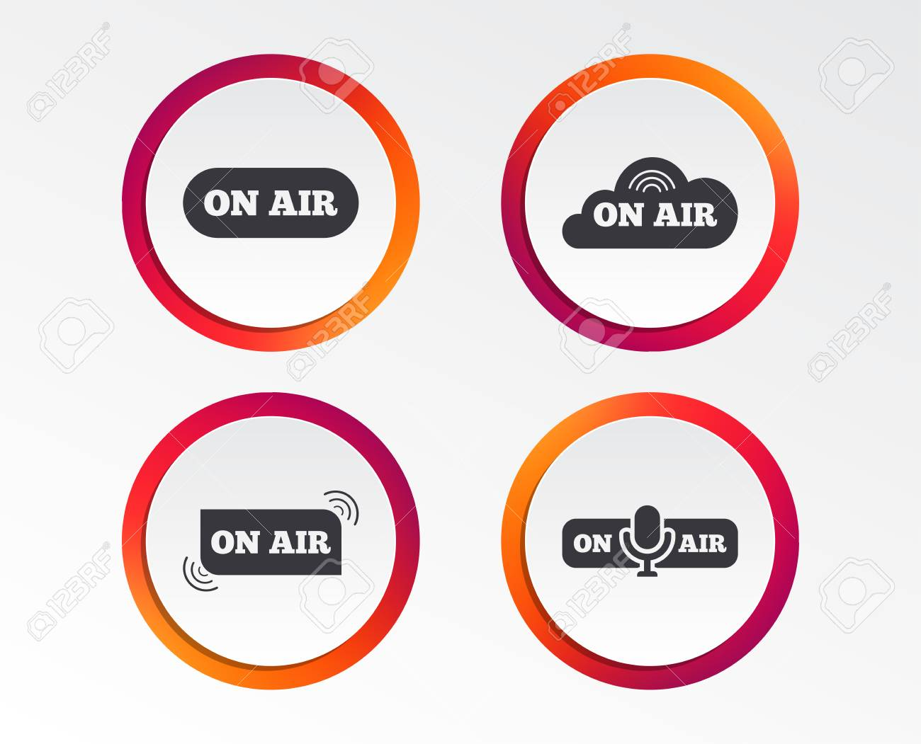 on air icons live stream signs microphone symbol infographic