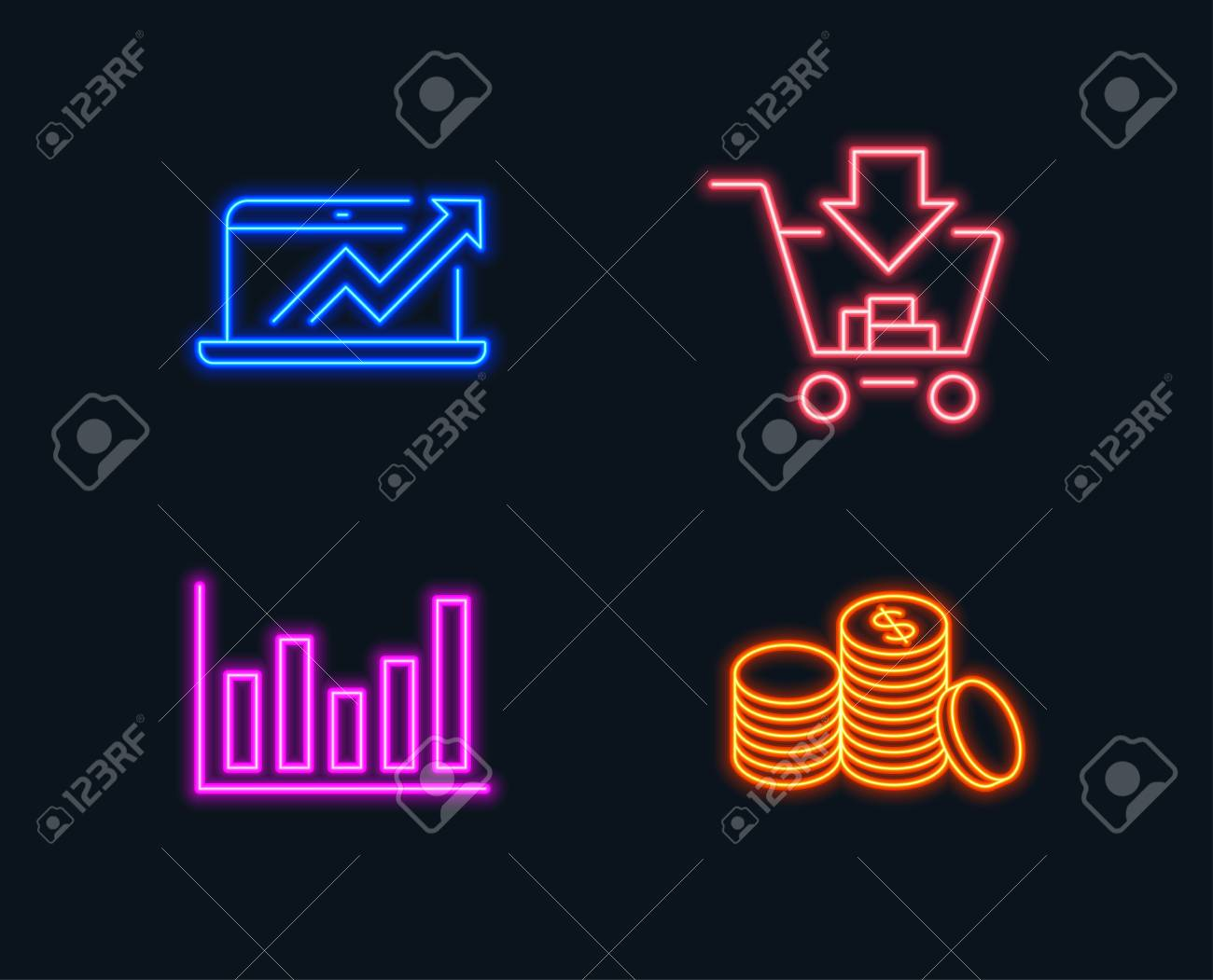 neon lights  set of column chart, sales diagram and shopping icons  banking  money