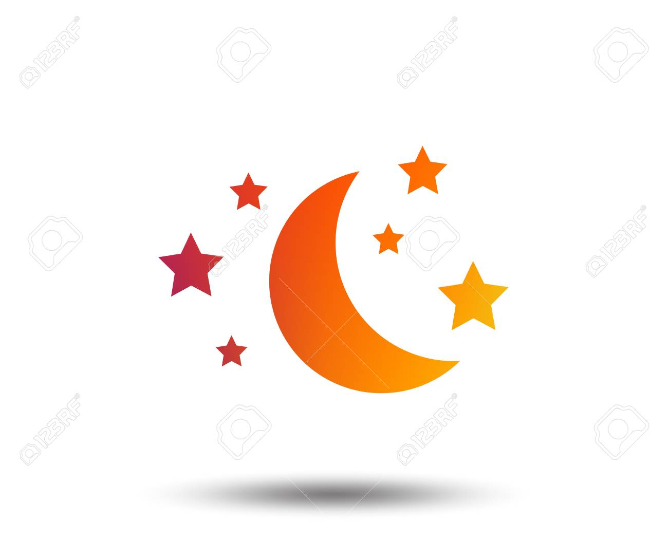 Moon And Stars Icon Sleep Dreams Symbol Night Or Bed Time Sign