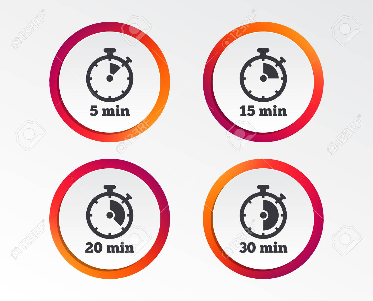 timer icons 5 15 20 and 30 minutes stopwatch symbols infographic