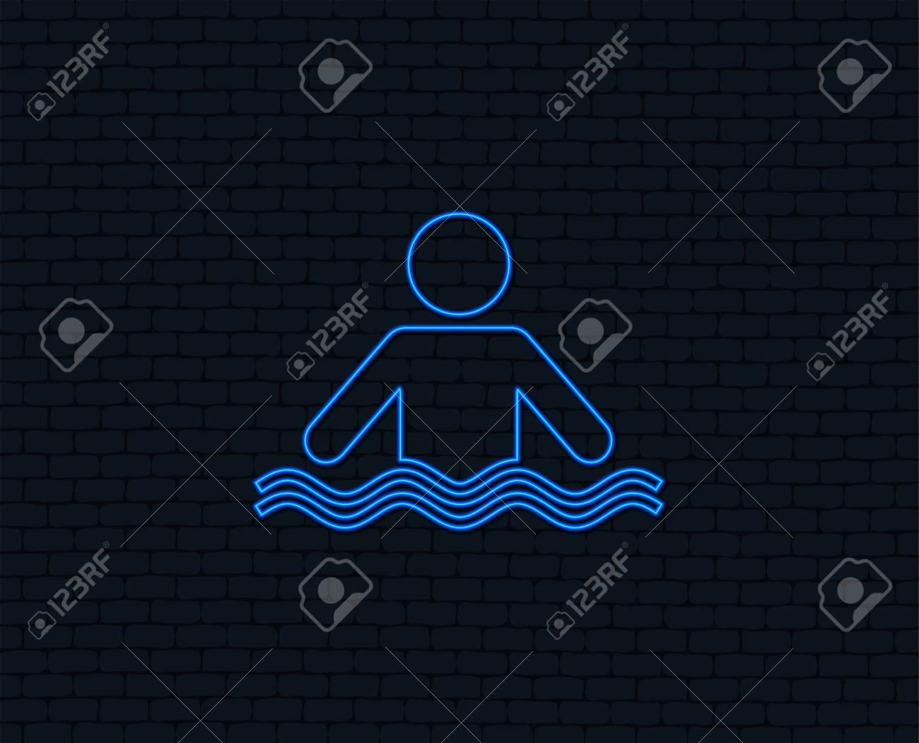Neon light  Swimming sign icon  Pool swim symbol  Sea wave  Glowing