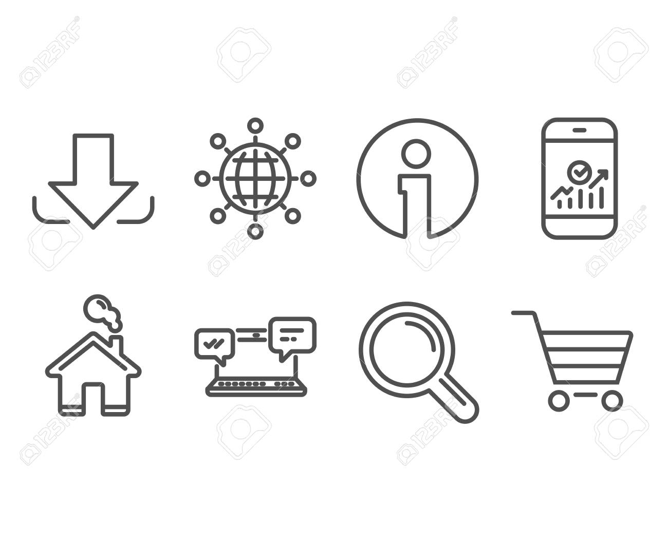 Set of Internet chat, Download and Smartphone statistics icons