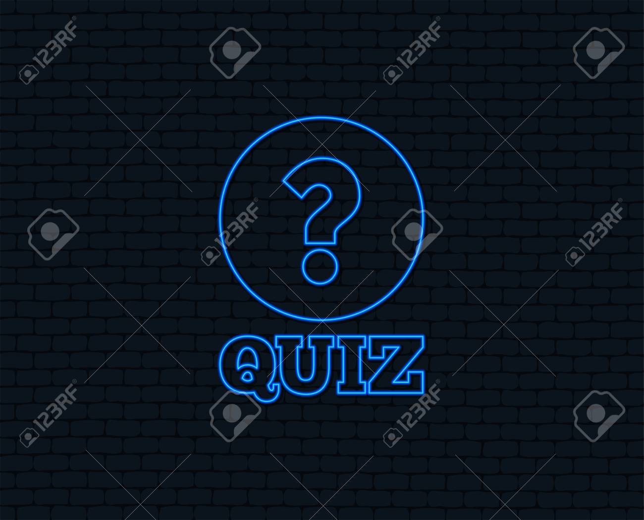 Neon light  Quiz with question mark sign icon  Questions and
