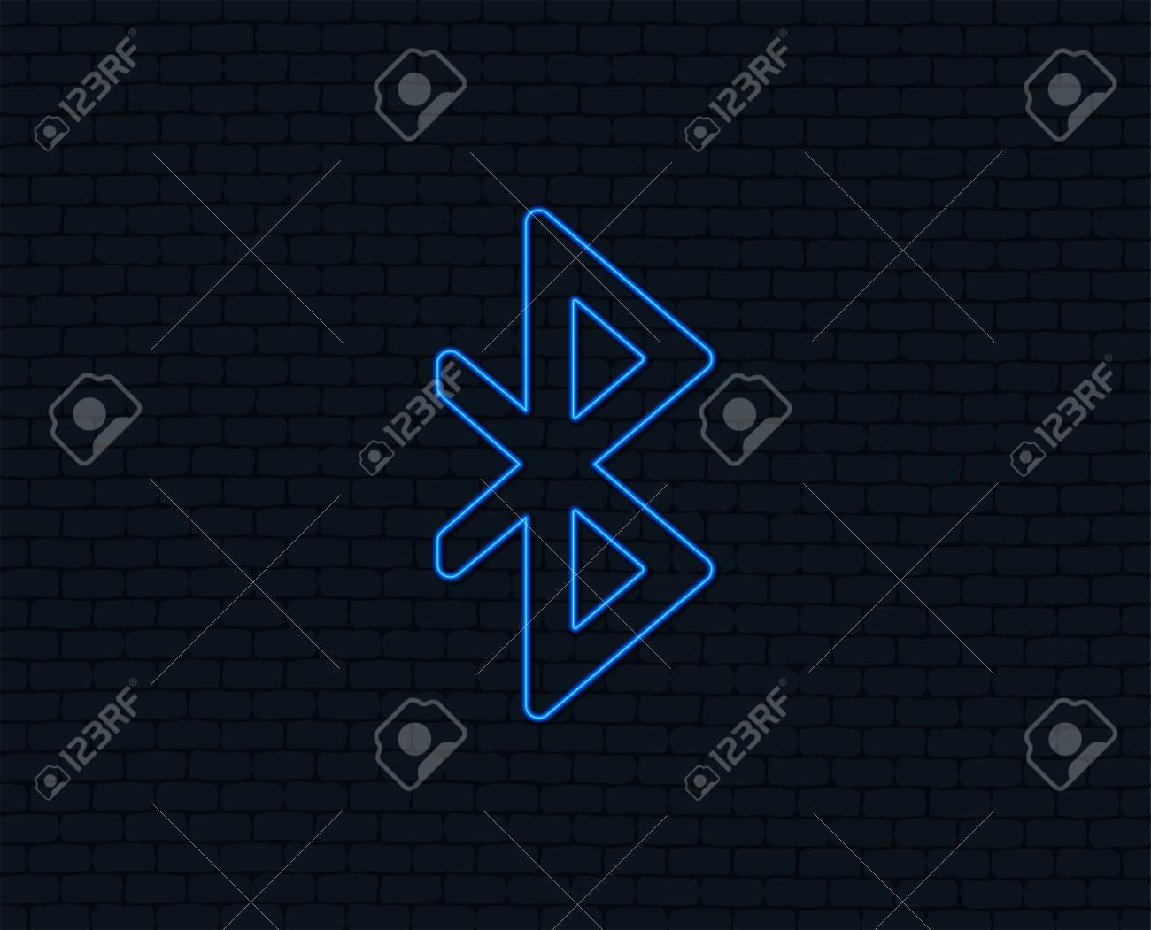 Neon Light Bluetooth Sign Icon Mobile Network Symbol Data