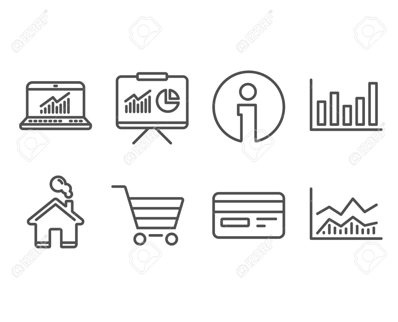 Set of Column chart, Credit card and Online statistics icons