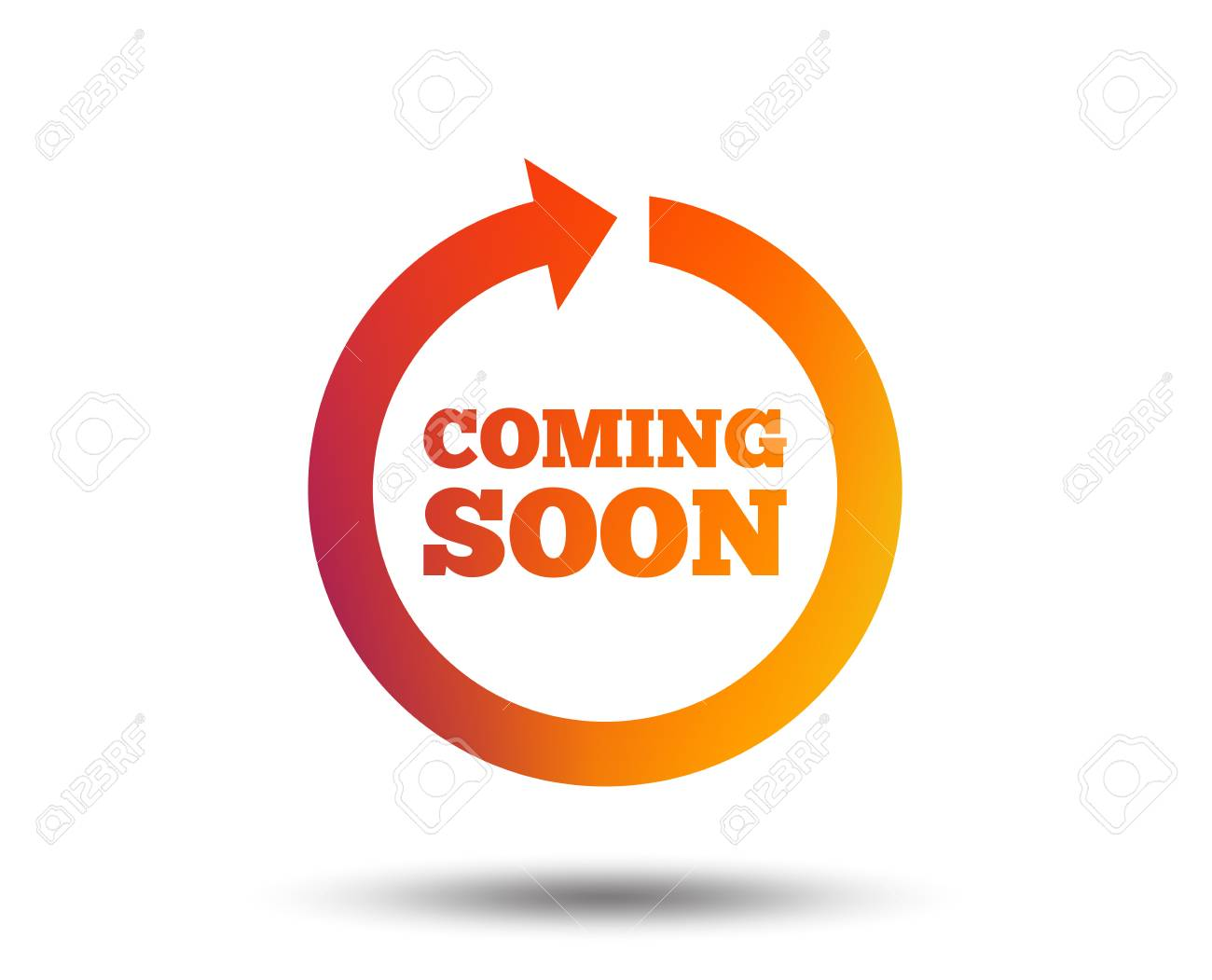 Coming soon sign icon. Promotion announcement symbol. Blurred gradient design element. Vivid graphic flat icon. Vector - 102807554