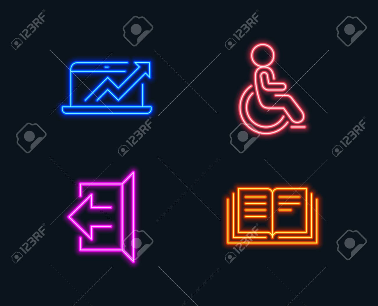 neon lights  set of sales diagram, sign out and disabled icons  education  sign