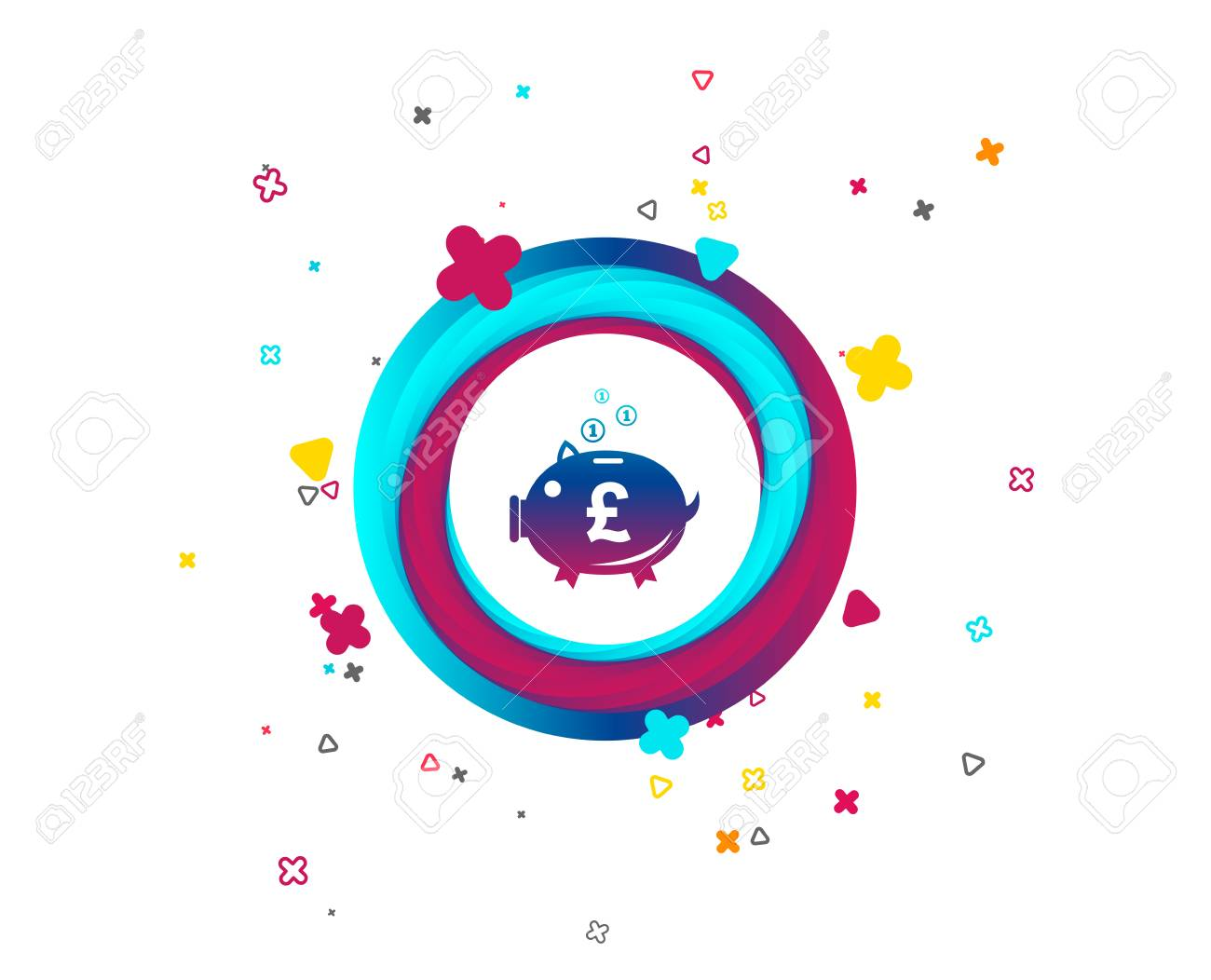 Piggy bank sign icon. Moneybox pound symbol. Colorful button with icon. Geometric elements. Vector - 106725903