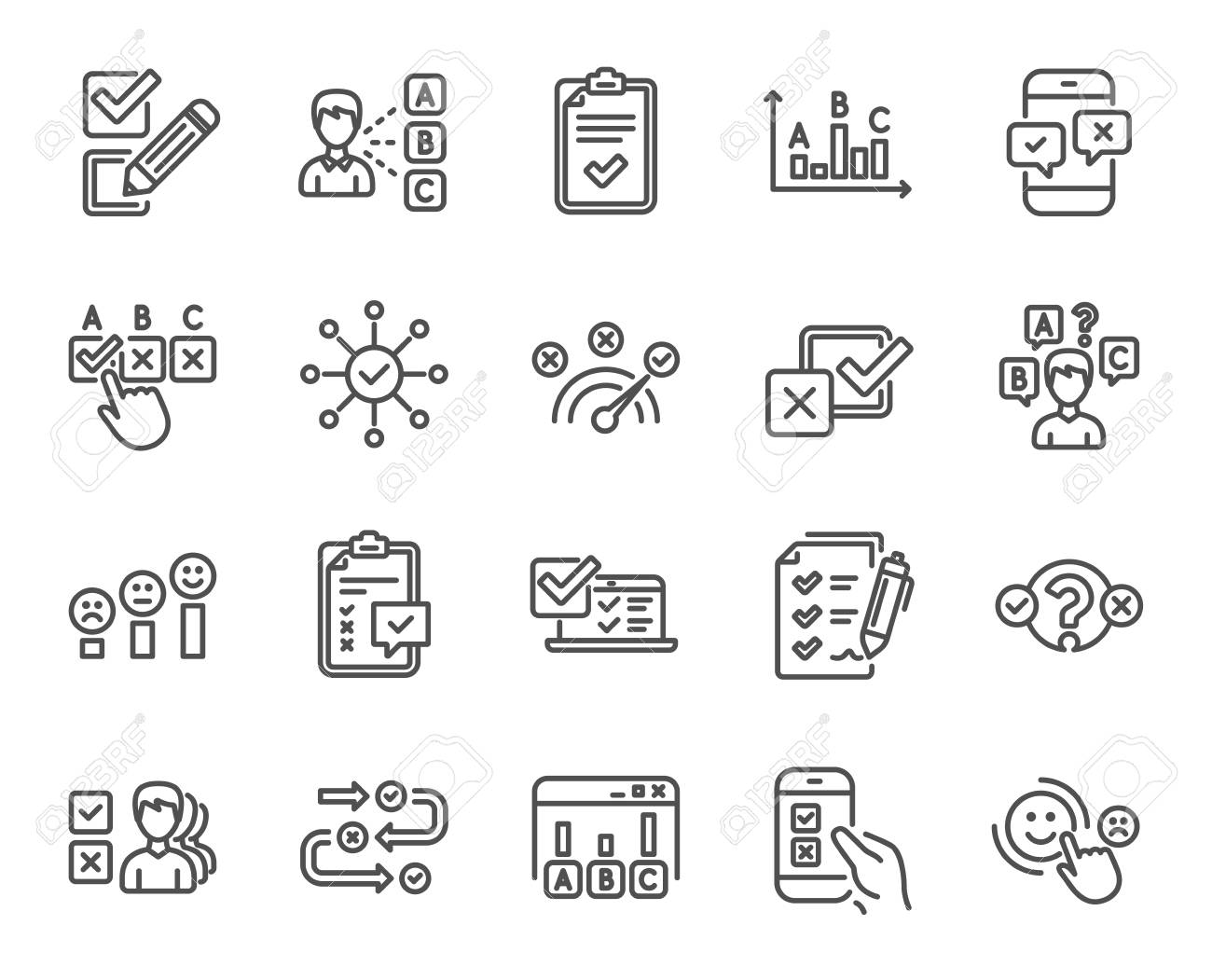 Survey or Report line icons. Set of Opinion, Customer satisfaction and Test linear icons. Checklist review, Quiz and Business report symbols. Evaluation, Feedback chart and Management. Vector - 111102935