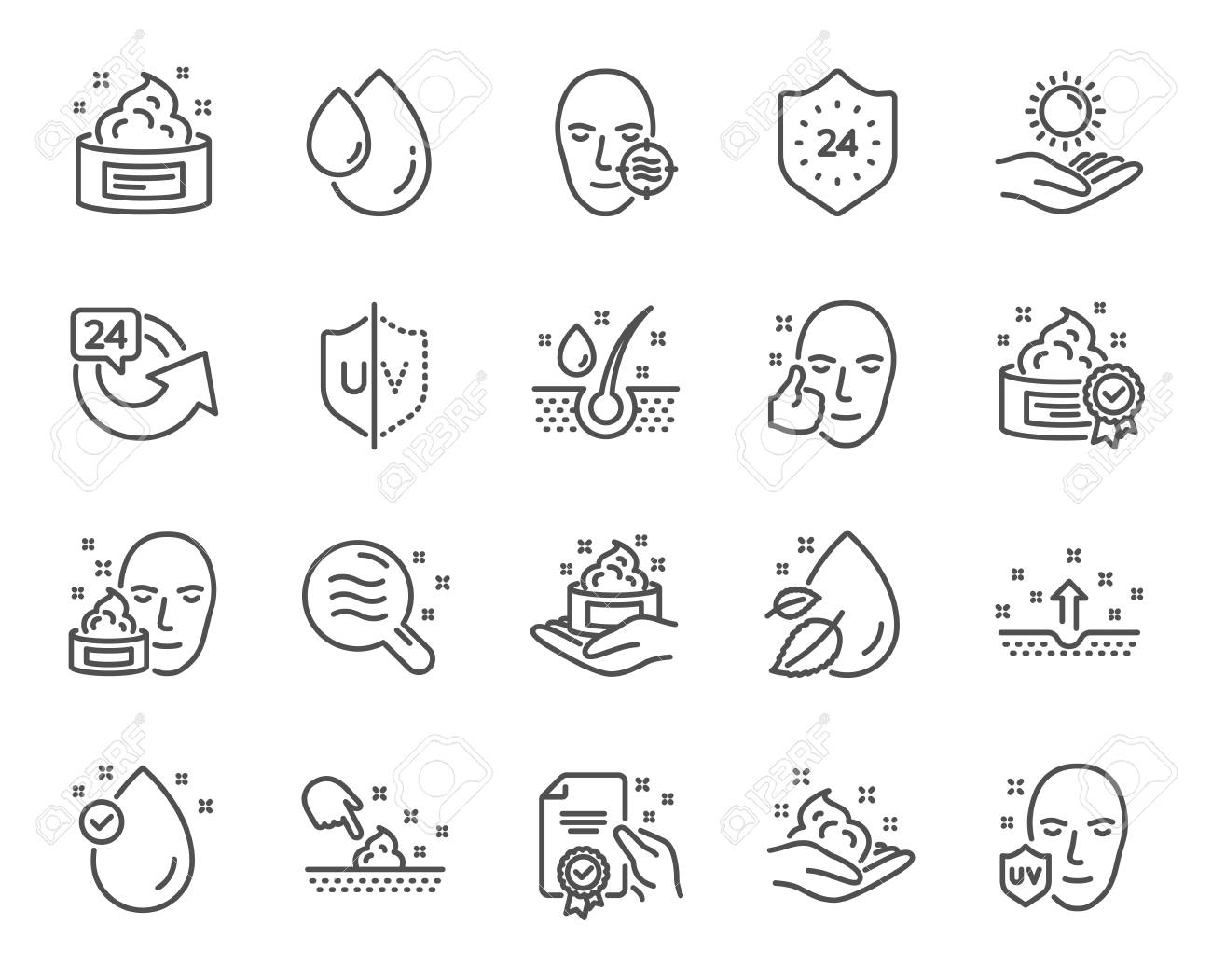 Skin care line icons. Set of Cream, Serum drop and Face gel or lotion linear icons. Oil, Vitamin E and Collagen symbols. 24 hour face care protection. Medical skin cosmetic signs. Vector - 111103266