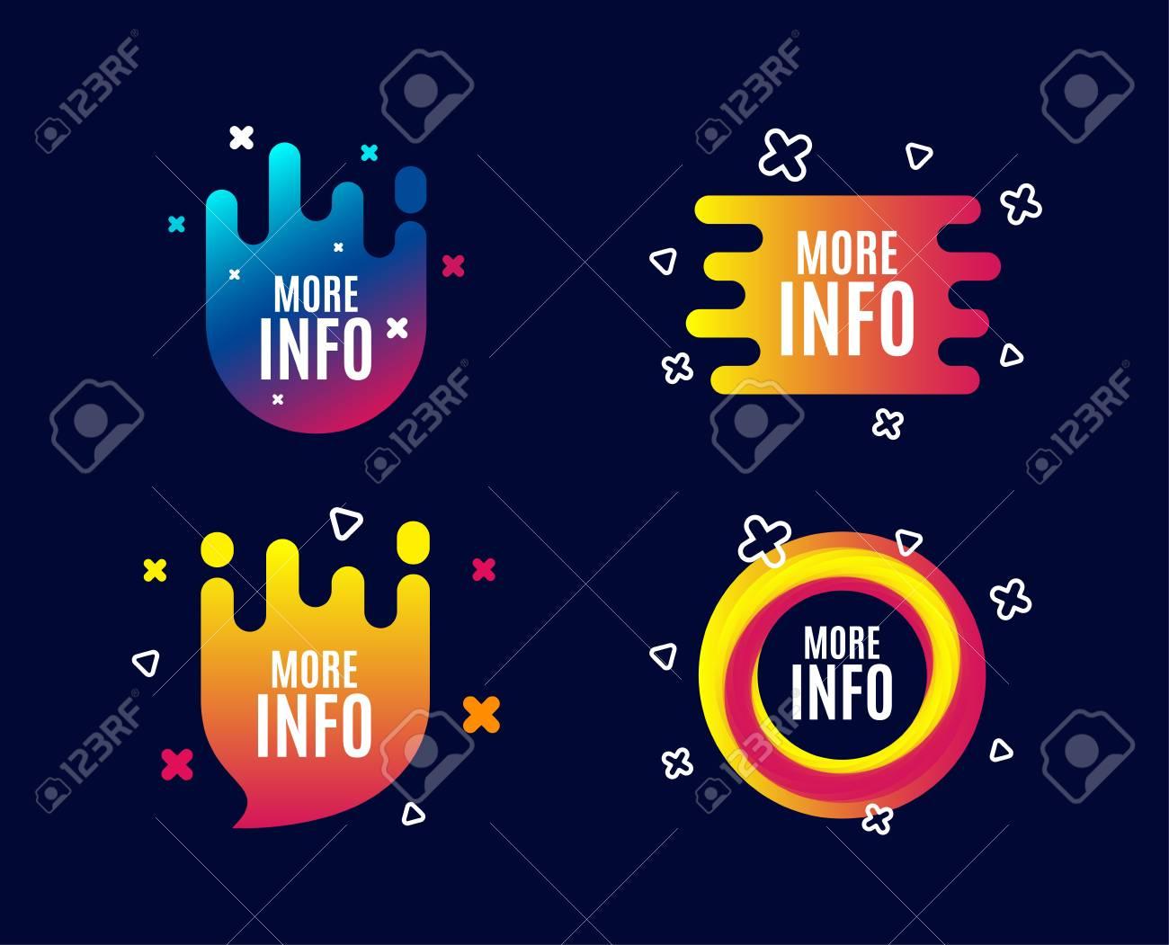 More info symbol. Navigation sign. Read description. Sale banners. Gradient colors shape. Abstract design concept. Vector - 110380409
