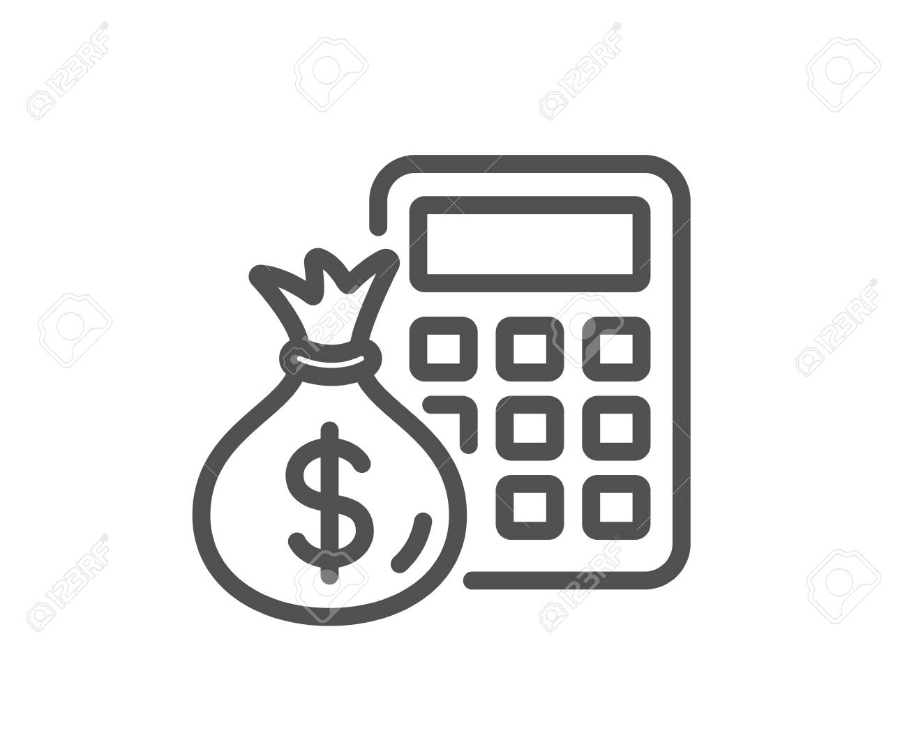 Calculator with money bag line icon. Accounting sign. Calculate finance symbol. Quality design element. Classic style. Editable stroke. Vector - 110380546