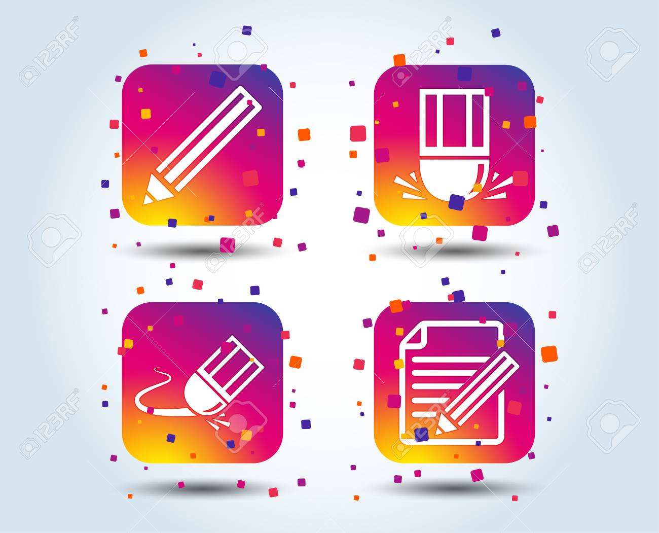 Pencil icon  Edit document file  Eraser sign  Correct drawing