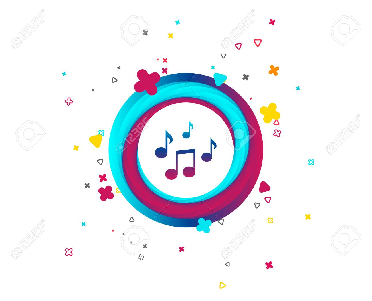 Music notes sign icon. Musical symbol. Colorful button with icon. Geometric elements. Vector - 108632628