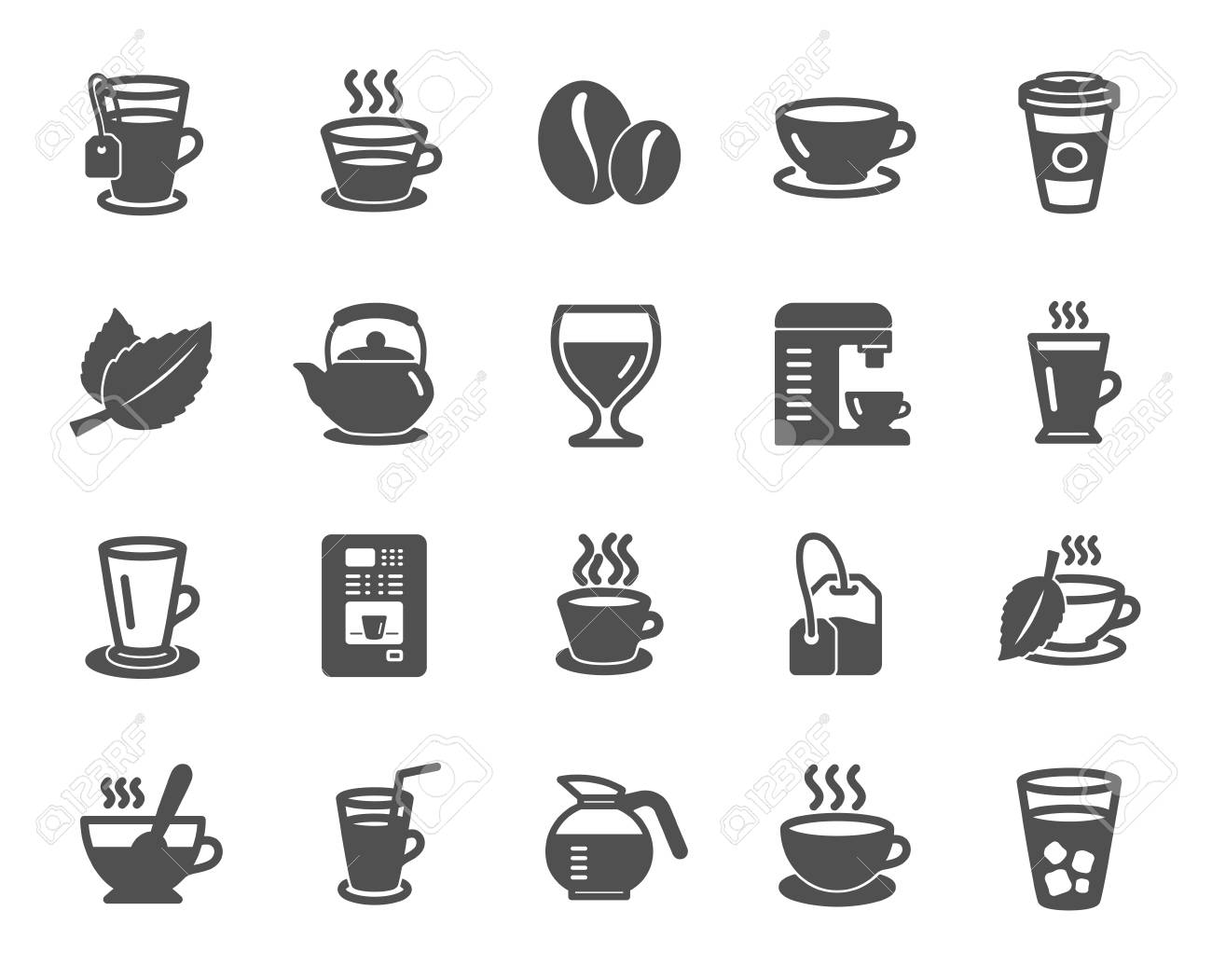 Coffee and Tea icons. Set of Cappuccino, Juice with ice and Latte signs. Teapot, Coffeepot and Hot drink with Steam icons. Mint leaf, Herbal beverage and Coffee vending symbols. Quality design element - 111103972