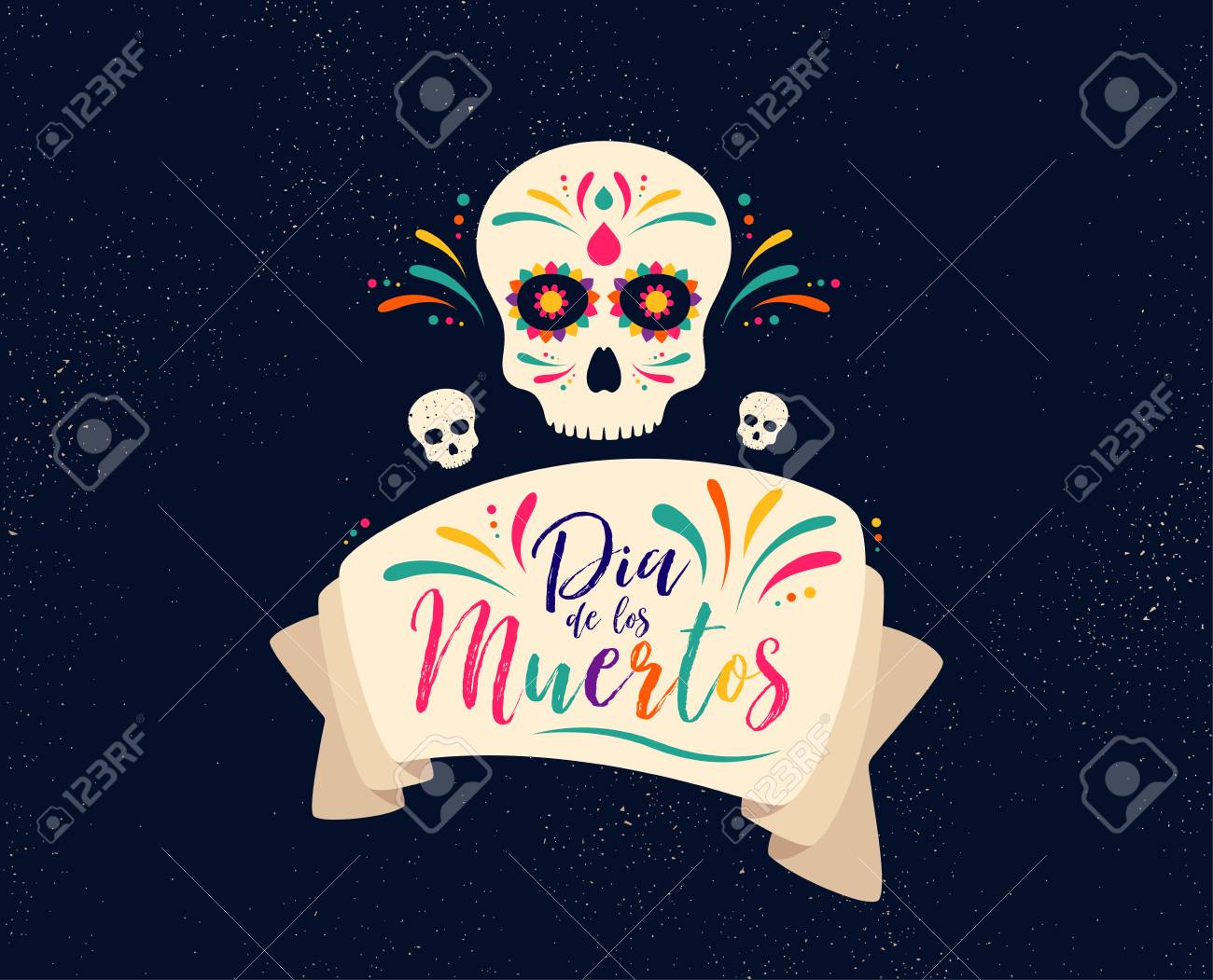 Dia de Muertos or day of the Dead. Skull banner for mexican celebration. Traditional mexico skeleton decoration with flowers and sugar skull colorful art. Day dead holiday. Vector - 111104019