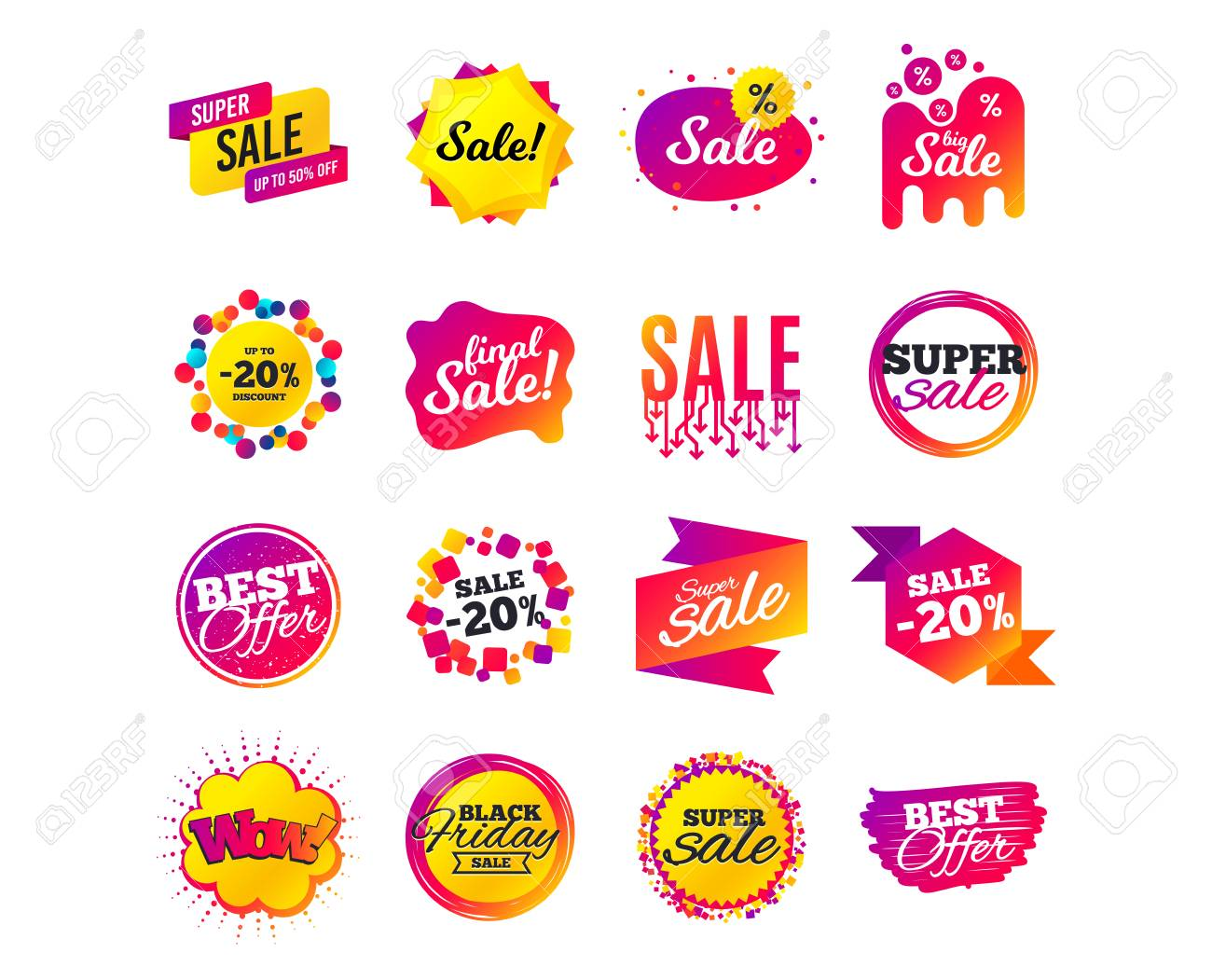 Sale banner templates design. Special offer tags. Cyber monday sale discounts. Black friday shopping icons. Best ultimate offer. Super shopping discount icons. Vector - 111104267