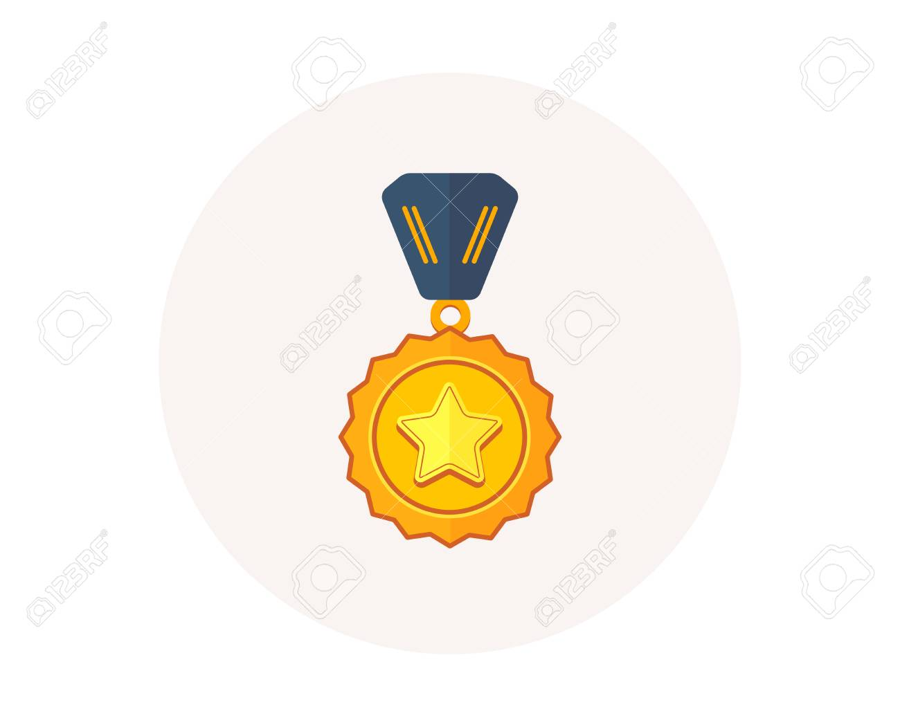 Winner medal icon. Golden prize sign. Success award symbol. First place winner. Colorful icon in circle button. Best medal, sport trophy vector - 111104892