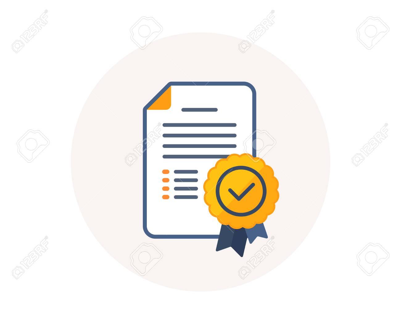 Certificate diploma icon. Graduation document with medal sign. Education certification diploma symbol. Achievement award medal. Certificate document vector. - 111407552