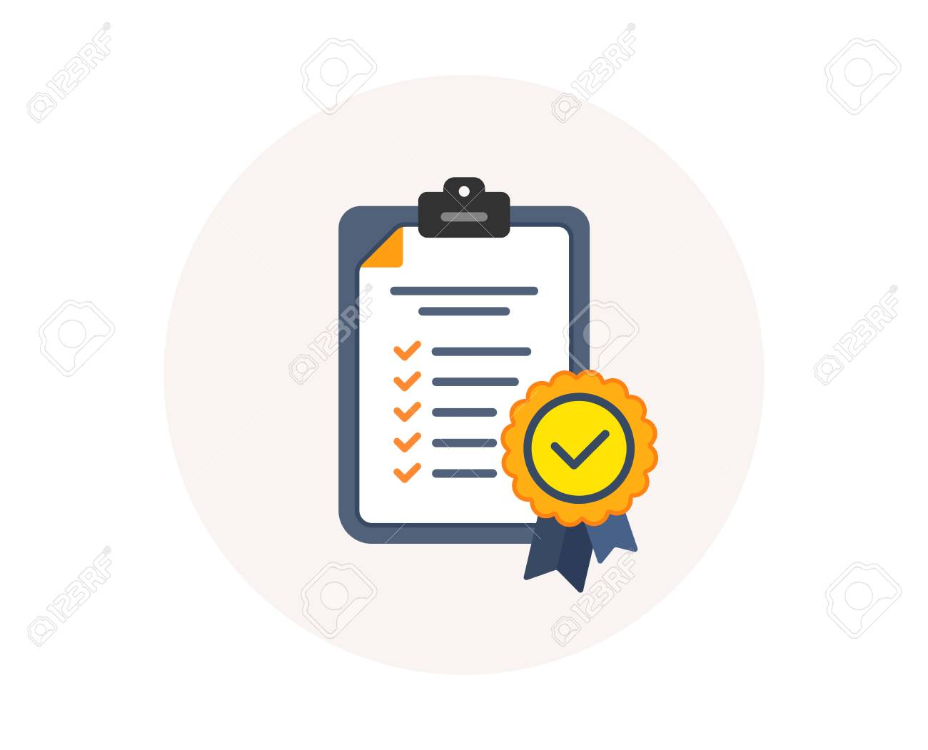 In compliance icon. Checklist sign. Certified document symbol. Approval process. Company passed inspection. Colorful compliance icon in circle button. Certified approval checklist. Verified vector - 111407583
