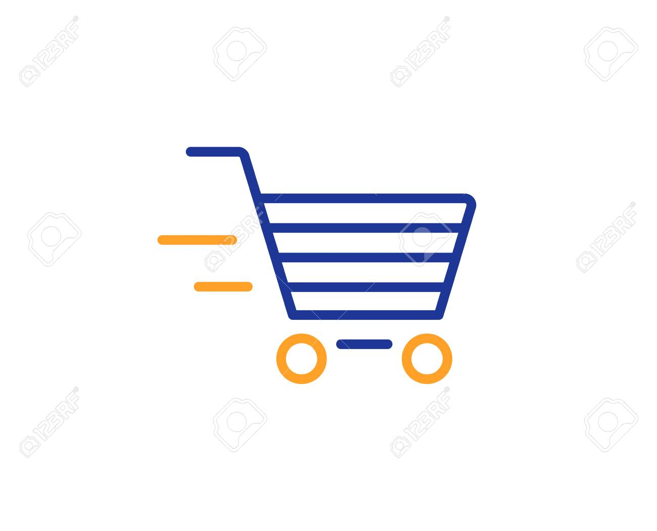 Delivery Service line icon. Shopping cart sign. Express Online buying. Supermarket basket symbol. Colorful outline concept. Blue and orange thin line color icon. Delivery shopping Vector - 112885717