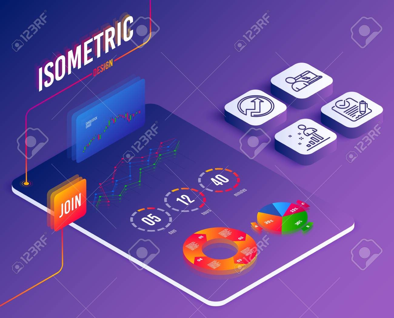 Isometric set of Online education, Rfp and Audit icons  Stats