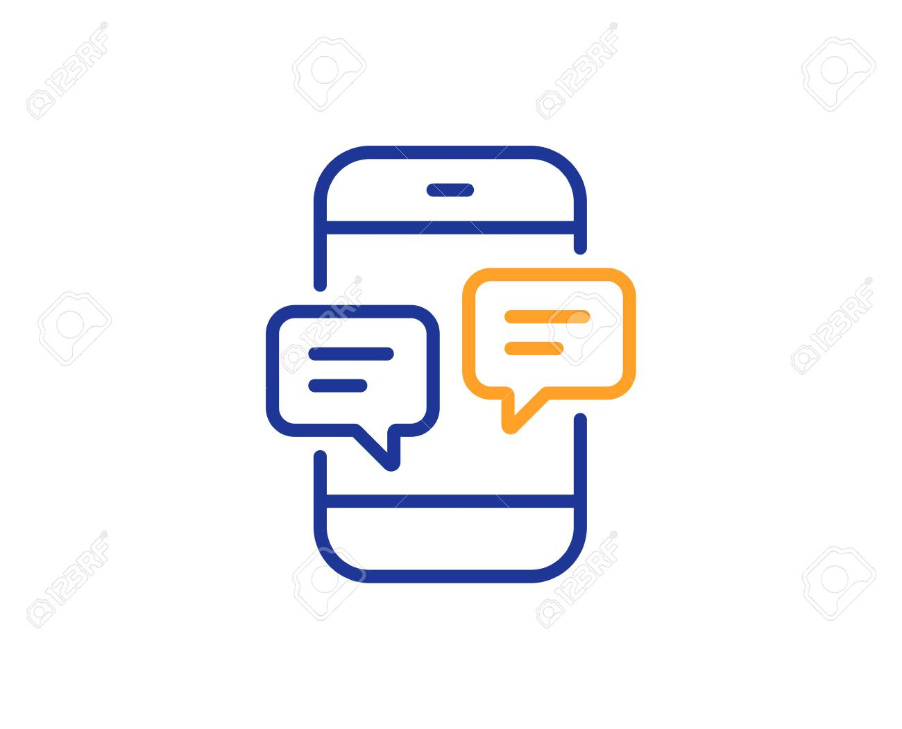 Phone Message line icon  Mobile chat sign  Conversation or SMS